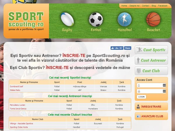 Sport Scouting - web design